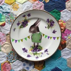 Purple Shy Bunny with Violet Floral Edge Vintage Illustrated Plate