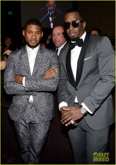 Usher and Sean Combs - Clive Davis Pre-Grammy Party!