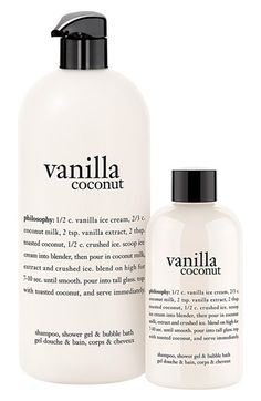 Obsessed with the Philosophy vanilla coconut shampoo, shower gel, and bubble bath.