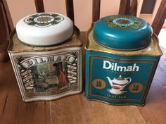 2 X Empty Tin  Dilmah Ceylon English Breakfast Tea Canisters Collectables 250Gm