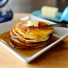 Edna Mae's Sour Cream Pancakes, I substituted greek non fat greek yogurt for the sourcream. For the small amt of flour needed, these are delish and fairly healthy!