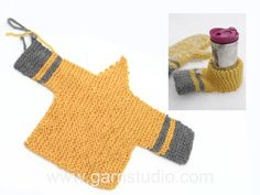 Knitted mitten and beer mitten in DROPS Eskimo. Stripes and garter stitch. Knitted Mittens Pattern, Crochet Mittens, Knit Or Crochet, Crochet Pattern, Knitted Hats, Free Pattern, Easy Knitting, Loom Knitting, Knitting Patterns Free