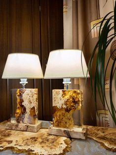 Diy Resin Projects, Diy Resin Art, Diy Resin Crafts, Diy Resin Light, Handmade Bedside Tables, Handmade Lamps, Wood Resin Table, Epoxy Resin Wood, Resin Furniture