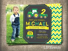 Hey, I found this really awesome Etsy listing at http://www.etsy.com/listing/167384492/tractor-birthday-invitation-chalkboard