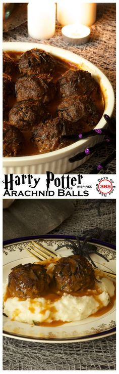 These arachnid balls were inspired by the Harry Potter movies, more commonly known as porcupine meatballs | 365 Days of Easy Recipes