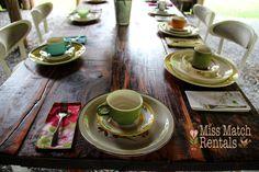 Farm tables, vintage dinnerware, wild flowers