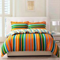 Pumpkin Orange Forest Green and Blue Multi-color Vertical Stripes Print Unique 100% Cotton Damask Full, Queen Size Bedding Sets