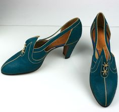 Art Deco Snakeskin Shoes - 1930's - Made in Poland