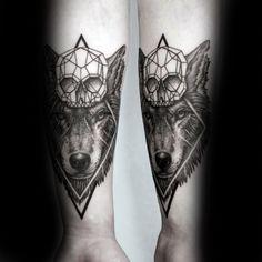 Skull Geometric Wolf Mens Forearm Tattoos