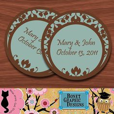 Chocolate & Blue -Personalized 2 Inch Circle Tags - Owl Design Set of 120 Tags - Thank you - Wedding - Bridal Shower - Baby Shower - Birthday - Anniversary