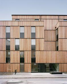 Office Building Architecture, Building Facade, Facade Architecture, Residential Architecture, Wood Cladding, Wood Siding, Vertical Siding, Wooden Facade, Social Housing