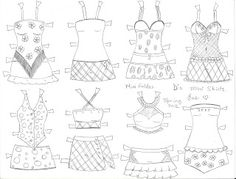 ~PAPER DOLL EVE: A GIRL DREAMS~: D the paper doll mini skirts and sleep wear coloring pages. Mini faldas y ropa de dormir para D la cuquita de papel.