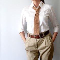 Hazel Brown Tie Crochet Tie Skinny Scarflette от callmemimi