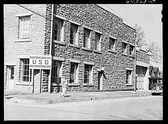 Neosho, Missouri. USO (United Service Organizations) building. Date: 1942 Feb. Photographer: John Vachon | Library of Congress | http://www.loc.gov/pictures/item/fsa2000044972/PP/