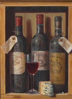 """""""Old Wines,"""" Raymond Campbell, oil on panel, 16 x 12"""", private collection."""
