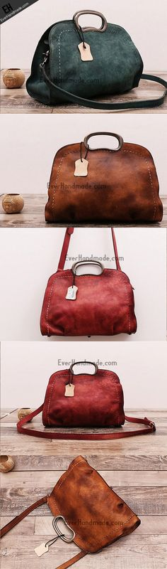 Handmade Leather handbag crossbody purse shoulder bag for