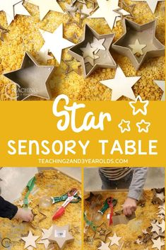 Add a star theme to your Christmas sensory play with this fun and easy idea! Toddlers and preschoolers will have fun with all the different textures while scooping, pouring, and sorting. A fun way to work on those fine motor skills! Christmas Activities For Toddlers, Activities For 2 Year Olds, Preschool Christmas, Christmas Crafts, Sensory Activities, Hands On Activities, Sensory Play, Preschool Activities, Toddler Fun