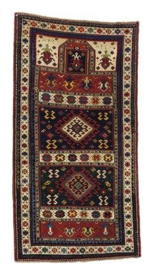 KARABAGH PRAYER RUG  SOUTH CAUCASUS, DATED AH 1298/1881 AD  Approximately 5 ft. 7 in. x 2 ft. 11 in. (170 cm. x 89 cm.)