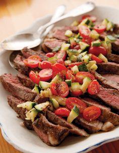 Grilled Steak with Zucchini-Tomato Relish