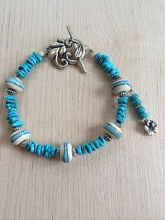 Lampwork beads with Turquoise pieces & Sterling beads