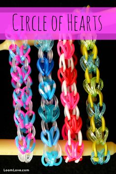How to Make a Rainbow Loom Circle of Hearts Bracelet - More on loom  rubber bands + designs visit: http://www.overtherainbowloombands.com