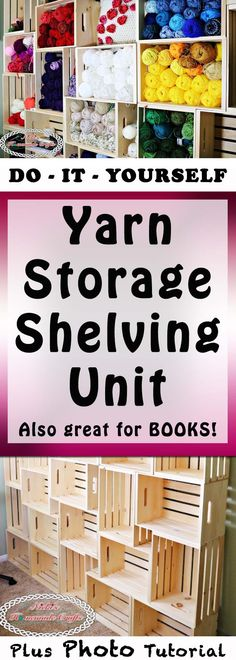 How to create your own DIY Yarn Storage Shelving Unit which is a Craft Tutorial by Nicki's Homemade Crafts #crochet #knitting #yarn #storage #yarnstorage #shelving #shelves #shelvingunit #woodencrates #diy #wood #crates #winecrates #doityourself #handman