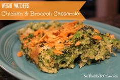 Weight Watchers Chicken and Broccoli Casserole | No Thanks to Cake - - This dish is one of the easiest and tastiest casseroles that I've ever made! Just 4 WW Points, and 172 calories per serving!
