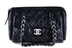 Chanel 12in Black Patent Modern Chain Day Glow Classic Flap Camera Bag