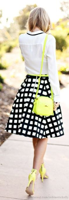 Street Style: Black, White and Yellow. The skirt is amazing but I can do without some of that neon.