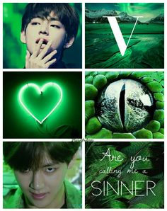 LiunAfrAme  Are you calling me a sinner - Kim Taehyung BTS V  Green ~ Black //not the individual pics' owner//