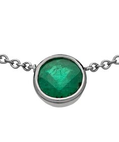 OGI Round Bezel Set Emerald Pendant Necklace Max And Chloe, Emerald Pendant, Square Rings, My Precious, Green Stone, Turquoise Bracelet, Gemstone Rings, Pendant Necklace, Jewels
