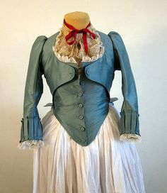 Jacket 18th Century Zone Front Marie Antoinette Style in blue silk, size Small
