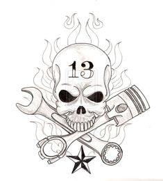 skull_with_crossed_wrench_and_piston_tattoo_by_metacharis-d5tbitn.jpg (850×940)