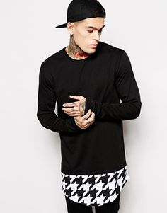 ($40) ASOS Long Sleeve T-Shirt With Houndstooth Print In Super Longline