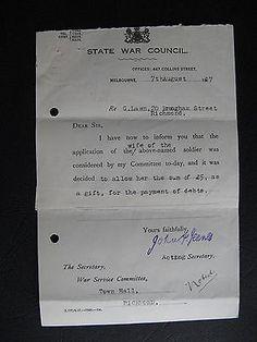WW1 ANZAC SERVICEMAN   G Lawn 20 Brougham St Richmond