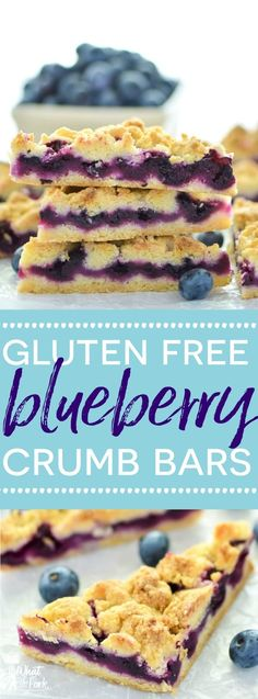 These Gluten Free Blueberry Crumb Bars are made with fresh blueberries and are a really delicious dessert or snack. The crumb is nice and crisp and the lemon zest makes these bright and fresh! Recipe from @whattheforkblog | whattheforkfoodblog.com | glute