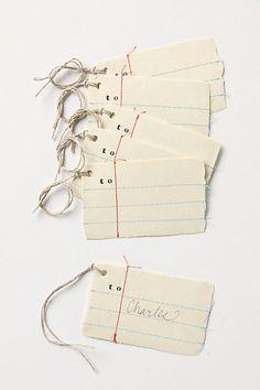 Ledger gift tags.