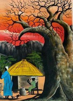African Hut, African Tree, Original Artwork, Original Paintings, African Artwork, Baobab Tree, Florida Usa, Zimbabwe, Large Painting