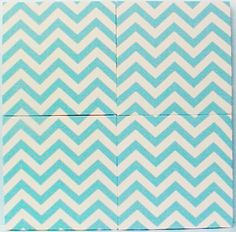 "Fabric Cork Bulletin Boards.  Four, Turquoise Chevron, 12"" x 12"" with no message ribbons, $21.70 each, or, YOUR choice of over 1000 fabrics; four standard sizes and custom; with or without message ribbons; and lots more at   www.PushPinsAndFabricCorkBoards.com,  Category: FABRIC CORK BULLETIN BOARDS, Subcategory: TURQUOISE. Also matching DECORATIVE PUSH PINS. #fabriccorkbulletinboards #decorativepushpins #fabricwallart #interior designers"