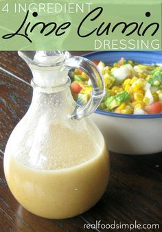 4 ingredients lime cumin dressing. A simple dressing that can be pulled together in 5 minutes. | realfoodsimple.com