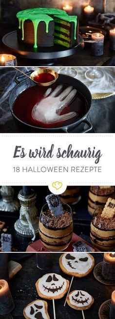 Halloween recipes: 18 scary-beautiful treats- Halloween-Rezepte: 18 schaurig-schöne Leckerbissen Trick or Treat! For Halloween, we have picked out sweet and savory recipes that look awesome, but taste terribly good! Halloween Snacks, Halloween Fingerfood, Scary Halloween Food, Halloween Torte, Postres Halloween, Recetas Halloween, Halloween Party Appetizers, Hallowen Food, Halloween Cupcakes