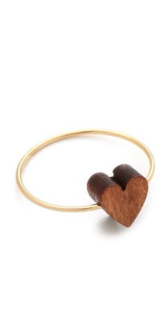 gold and wood heart ring