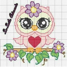 Dessin a broder pour bb images - Bing images Cross Stitch Owl, Cross Stitch Geometric, Cross Stitch Animals, Cross Stitch Designs, Cross Stitching, Cross Stitch Embroidery, Cross Stitch Patterns, Broderie Simple, Owl Quilts