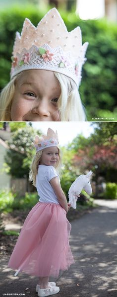 DIY Felt and Lace Princess Crown - - Make this pretty crown for your little princess with this step-by-step tutorial. Felt Diy, Felt Crafts, Diy For Kids, Crafts For Kids, Crown For Kids, Felt Crown, Crown Template, Felt Headband, Diy Crown