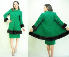 Emerald Green Boucle LILLI ANN Vintage 50's by viralthreads