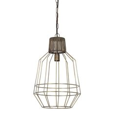 Antiqued Bronze Cage Pendant Light From The Hing