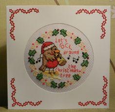 rockin robin cross stitched christmas card.