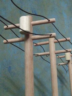 Wooden Toy High Voltage Power-line Pole 5 piece set Baby Toys, Kids Toys, Pole Stand, High Voltage, Wood Toys, Model Trains, Leather Cord, Wood Projects, Woodworking