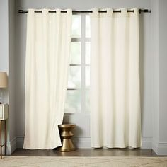 Linen Cotton Grommet Curtain - Ivory #westelm Curtain option for guest bedroom/ sitting room.