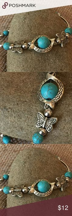 🔥Hot Price🔥Tuquoise Silver Bead Bracelet Turquoise and silver bead bracelet. Natural turquoise and silver butterfly beads make up this very versatile Folk Art bracelet.             Great for dressing up denim or putting a personal touch on a mediocre outfit.       ********************************************** Jewelry Bracelets